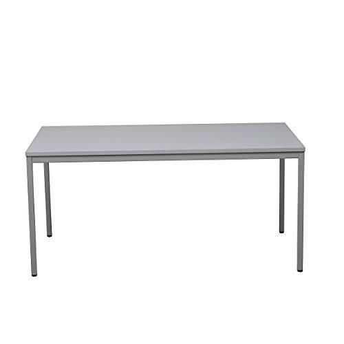 Certeo Bürotisch | Rechteckig | HxBxT 75 x 140 x 80 cm | Grau | Schreibtisch Bürotisch Küchentisch Besprechungstisch Mehrzwecktisch