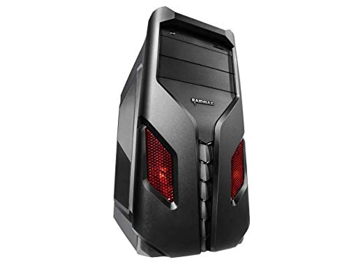 Raidmax EXO Gaming Computer PC Case with Side Window and Front Color Mesh (RED)