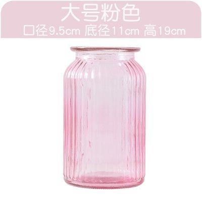 XXAICW Transparente Wasserhyazinthe Vase kleine Glasvasen Glas Flasche Vase Hydrokulturpflanzen Blumentopf Narzissen Blume , Große Vase rosa , Medium