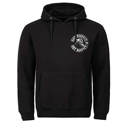 P-T-D Respect Biker - Sudadera con capucha, color negro Negro L