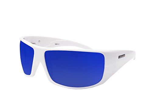 Ocean Sunglasses Brasilman Gafas de Sol, Unisex, Blanco (Blanco Brillo/Azul revo), Talla Única