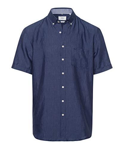BRAX Style Drake Airwashed Linen Camisa Casual, Azul (Navy 23), L para Hombre