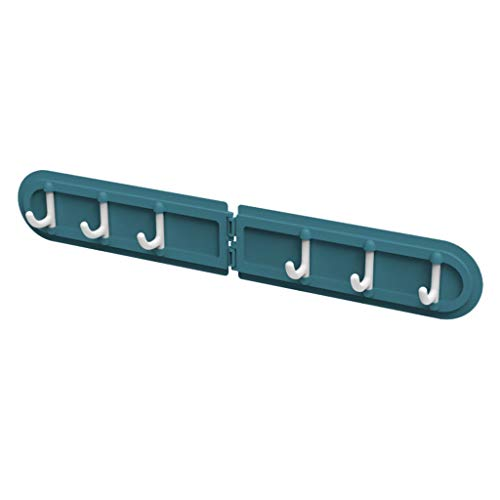 Iusun Creative Corner Hook Free Punching Folding 6 Row Self Door Adhesive Seamless Hooks Bathroom Bedroom Kitchen Office Indoor/Outdoor Hanging Kit Tool Storage Garage Organizer Choice (Blue)