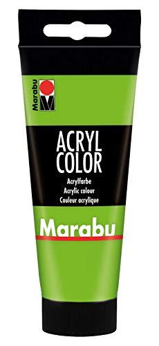 Marabu 12010050282 - Acryl Color blattgrün 100 ml, cremige Acrylfarbe auf Wasserbasis, schnell trocknend, lichtecht, wasserfest, zum Auftragen mit Pinsel und Schwamm auf Leinwand, Papier und Holz