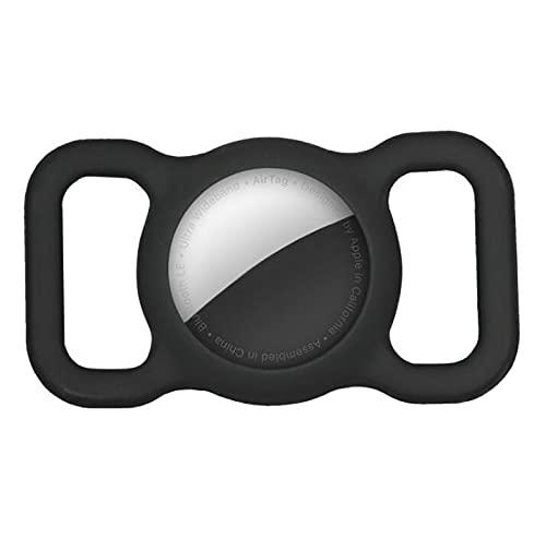 KTING Funda protectora de silicona compatible con AirTag, GPS Tracking Dog Cat Collar Accesorios Pet Loop Holder ligero, suave, antiarañazos, antipérdida, color negro