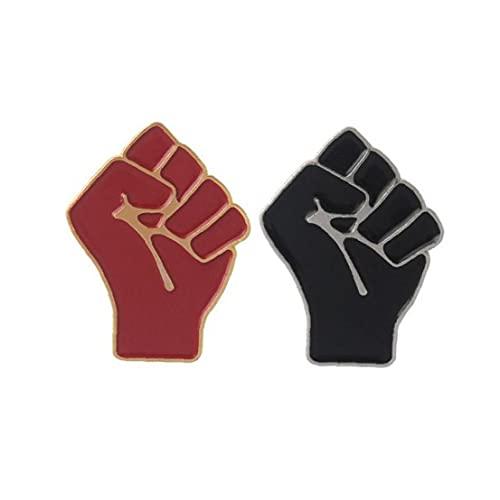 Ruluti 2 Unids De Moda Esmalte Rojo Dibujos Animados Unidad Símbolo Elevado Puño Broche Pines Dedo Negro Joyería Insignia para Hombres Mujeres Camisa Diaria Denim