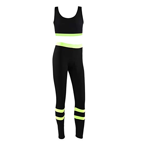 BTER Trajes Deportivos para Mujer, Pantalones de Yoga cómodos y Transpirables de Alta Elasticidad, Mallas de Yoga elásticas, Conjunto de Sujetador con Chaleco para Correr para Entrenamiento(Verde S)