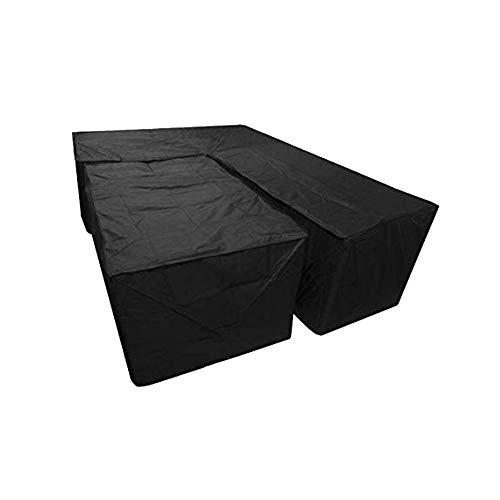 LUCYPAPASHOW Housse De Protection Canapé d'angle | 300 X 300 X 90 Cm | Noir | Résistant À l'eau Polyester & Revêtement PU | pour Jardin, Terrasse, Meubles | Qualité