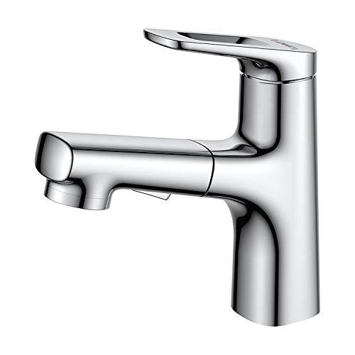 Lonheo Grifo Lavabo Extraible, Grifería Cromo Monomando 2 FUNCIÓN, Mezclador Baño Moderno con Agua Caliente y Fría