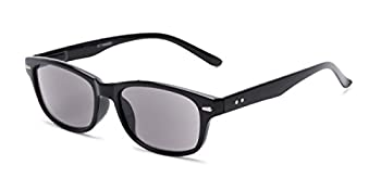Readers.com Reading Sunglasses  The Key West Reading Sunglasses Plastic Retro Square Style for Men and Women - Black with Smoke 2.00