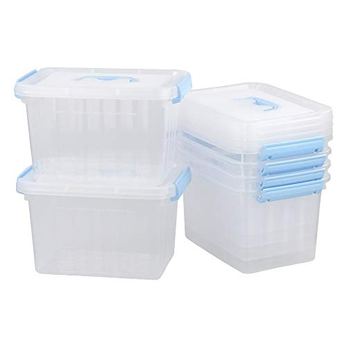 Gloreen 6 Quart Clear Storage Bins with Lid Stackable Plastic Storage BoxContainers with Blue Handles and Latches 6 Packs
