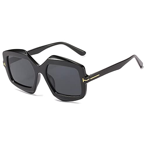 WANGZX Gafas De Sol Cuadradas Clásicas Polygon Gafas De Sol con Montura De Cristal De Gran Tamaño para Mujer Gafas De Sol Graduadas para Hombres Y Mujeres C1Negro-Negro