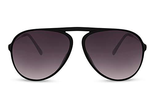 Cheapass Gafas de sol Sunglasses con una sola parte superior plana Bridge Aviador estilo único negro mate con lentes degradados oscuros con protección UV400 para hombre