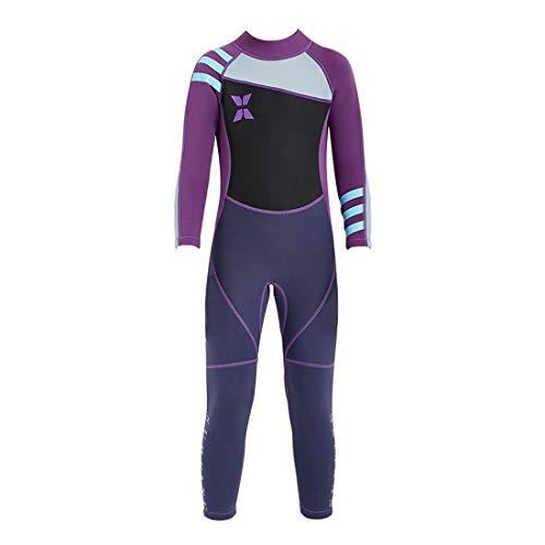 GWELL Mädchen Kinder Neoprenanzug 2.5MM Neopren Langarm Wärmehaltung Tauchanzug Badeanzug Wetsuit für Wassersport Schwarz-Violett XL