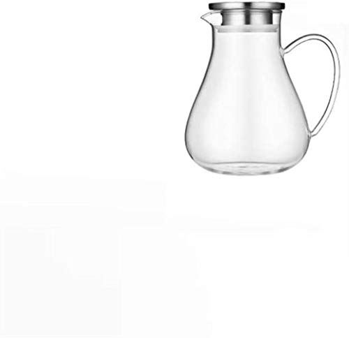 Teapots Teapot Cup 1.9 L Carafe Water Jug with Lid Borosilicate Teapot Glass Water Kettle Heat Resistance Glass Jug Suitable for Ice Tea and Juice Beverage - 100% BPA-Free (Single Pot No Accessories)