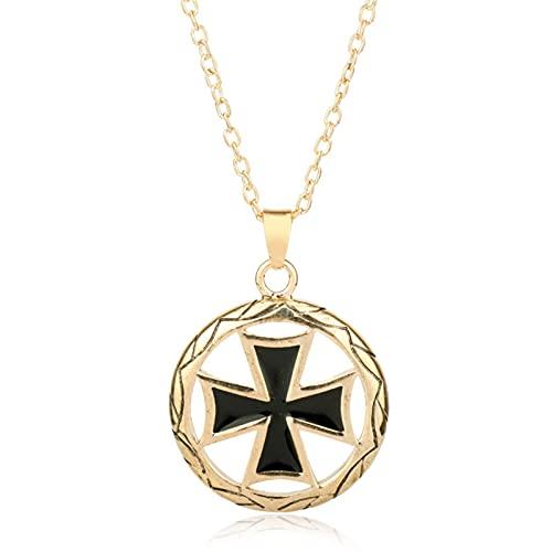 LYWER Collar Colgante de crujero de Acero Inoxidable para Hombres y Mujeres, Collar de Oro Plateado de Oro, Collar de Color Brillante, 2,9 cm ( Color : B )
