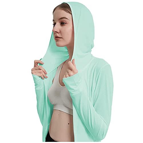 AIXIAOAQ Damenjacke Einfarbig Leichte Und DüNne Atmungsaktive Mode Lose LäSsige Sportwind-Sonnenschutzjacke Mit Kapuze