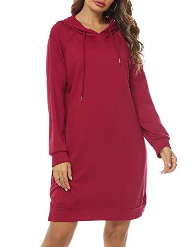 Sykooria Sweat à Capuche Long Femme Hoodies Robe Pull à Manches Longues Automne Hiver Sweat-Shirt Pullover,XL,Vin Rouge