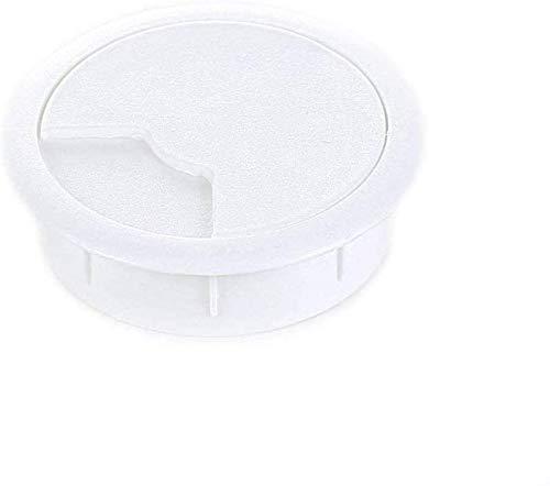 sossai® Kabeldurchführung KDM2 (2 Stück) | Kabeldurchlass/Schreibtischkanal für Schreibtische, Büro & Arbeitsplatten | Farbe: Weiß | Durchmesser: 60 mm | Material: Kunststoff