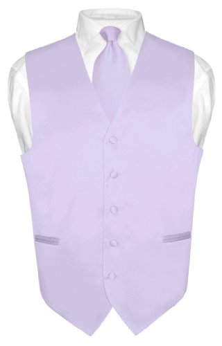 Men's Dress Vest & Necktie Solid Lavender Purple Color Neck Tie Set sz sz 2XL