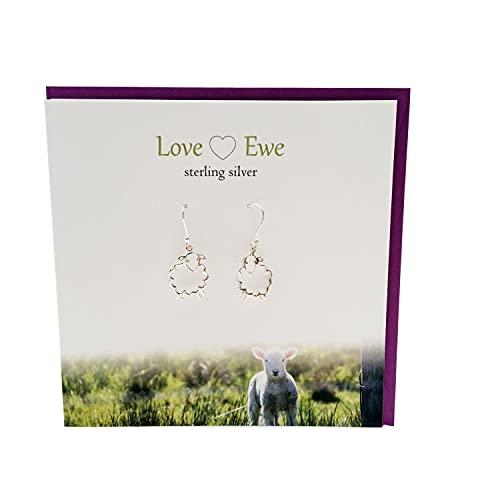 Silver Studio The Scotland Super Cute Love Ewe - Juego de pendientes de plata de ley con diseño de oveja
