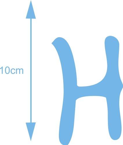 AnoLetterFoil Selbstklebender Deko Buchstabe - H - lichtblau, 10 cm hoch - Kleben statt Bohren, Aufkleber für Aussen- und Innenbereich, Ziffer, Türaufkleber, Beschriftung, Namen, Kindernamen, Kinderzimmer, Sticker auch als Wandtattoo, Fensteraufklebe