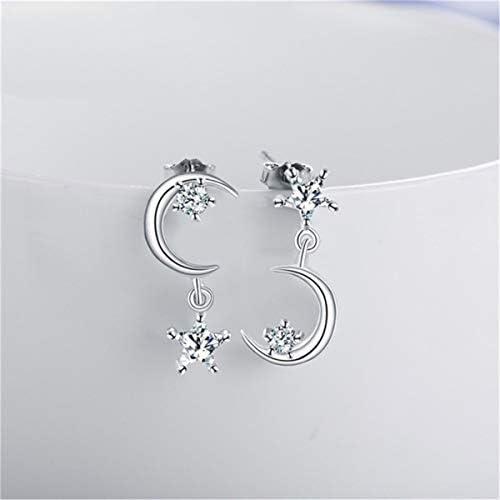 Beiswe Sparkling Asymmetric Moon Star Stud Earrings 925 Sterling Silver Crystal Drop Earrings product image