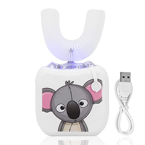 Cepillo de dientes eléctrico ultrasónico automático para niños con forma de U, 360 °, limpieza inteligente, cepillo de dientes eléctrico eléctrico para el cuidado (blanco)