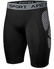 AMZSPORT Compressie-legging voor Heren Sneldrogend Basislaag Opleiding Broek voor het Hele Seizoen