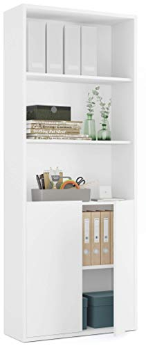 Pitarch Librería estantería 1 Armario 4 estantes despacho Oficina Blanca Alta Mueble almacenaje 197x76x33 cm