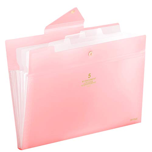 Skydue Expanding File Folders 5 Pockets File Folder with Snap Closure A4 and Letter Size Accordion Document Paper Organizer for Home School Office (Pink)