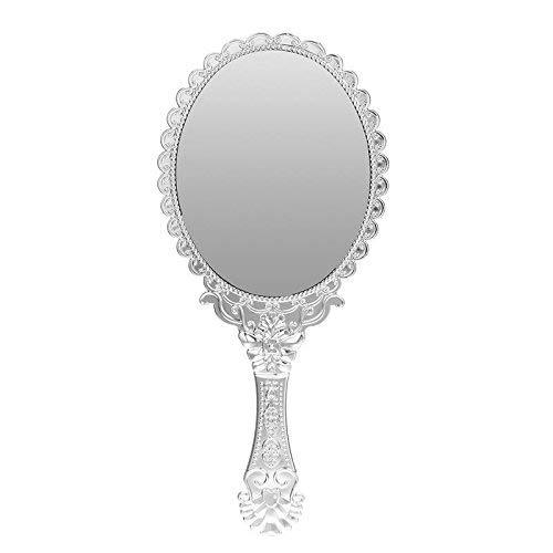 Uteruik Espejo de Maquillaje Vintage Queen Ronda Portátil Decorativo de Plata Pared Espejo de Mano Regalo de Belleza para Las Mujeres Espejo de Maquillaje