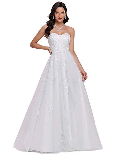Ever-Pretty Robe de Mariée Bustier A-Line Longue Femme Appliques Tulle Scintillante Élégante Blanc 36