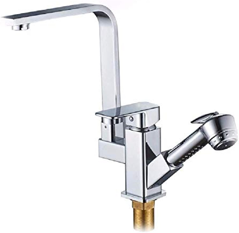 Oudan Kitchen Bath Basin Sink Mischbatterie Wasserhahn Massivem Messing Spüle Wasserhahn Auslauf Auslauf Kopf Enthlt die Spritzpistole Waschbecken Wasserhahn (Farbe   -, Gre   -)