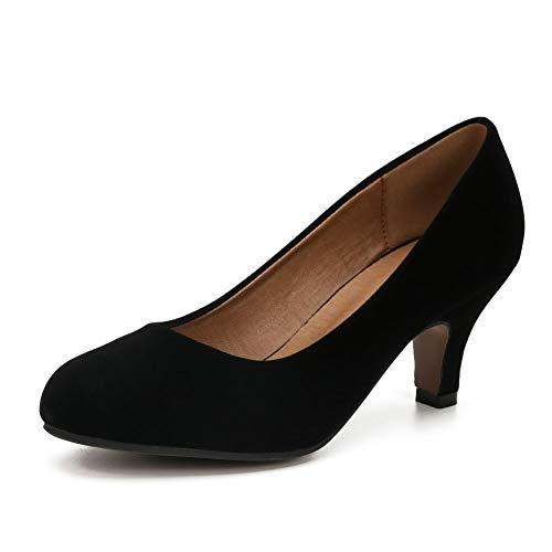 Damen Klassische Runde Zehen Pumps Kitten Low Heel Schuhe, (Velvet Black), 43.5 EU