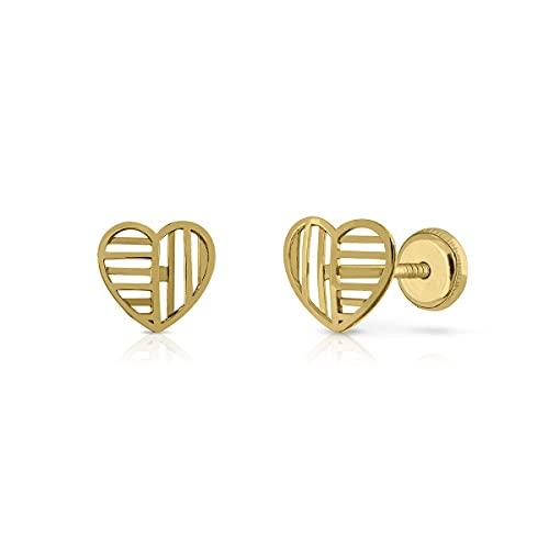 Pendientes Oro de Ley Certificado. Niña/Mujer. Diseño Corazón. Cierre de rosca. Medida 7 mm. (4-4754-7)