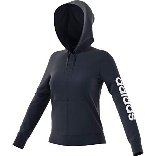 adidas Mujer Essentials Linear Sudadera con capucha con cremallera completa, Legend Ink/Blanco, Grande