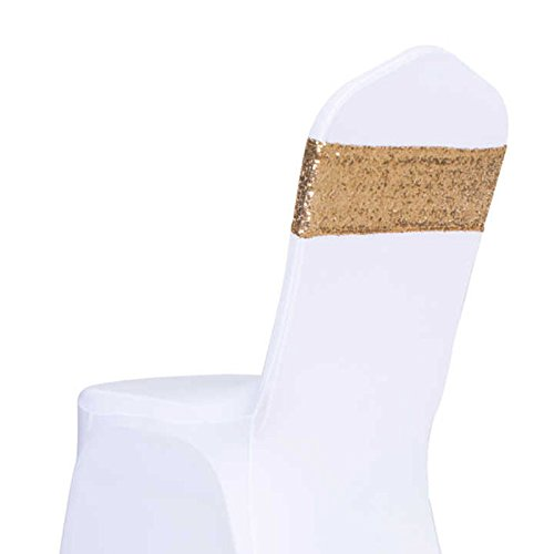 Pack of 10 pcs Gold Sequins Sash Chair Cover Band Bows Wedding Party Decoration Soft Sashes Bow