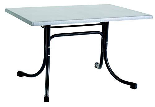 acamp Esstisch Gartentisch Bistrotisch Boulevard 110x70 cm rechteckig anthrazites Gestell mit INOX Topalit Tischplatte