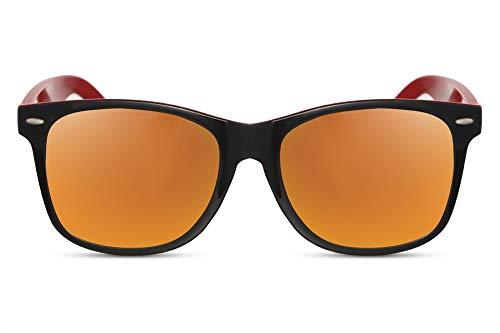 Cheapass Gafas de Sol Clásicas Brillantes Montura Exterior Negra y Montura Interior Roja con Cristales Naranjas Espejados UV400 Hombre Mujer