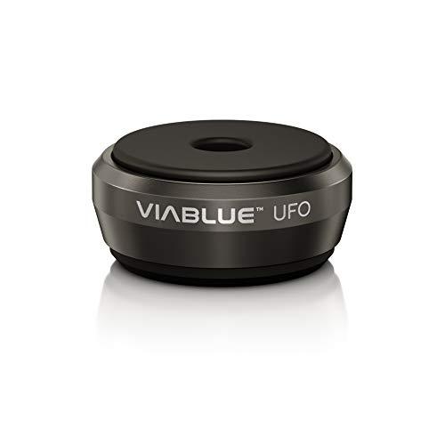 VIABLUE UFO Absorber * Ø 3,5 cm * Shock-, Resonanz,- Schwingungsdämpfer für Lautsprecher, Subwoofer und vibrierende Geräte * schwarz * Set 4 Stück