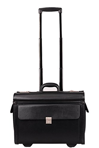 19' Black Faux Leather Wheeled Flight Pilot Case, Laptop Bag, Briefcase on Wheels