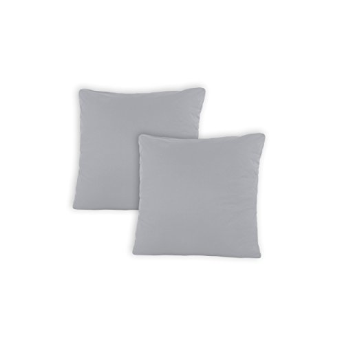 SHC - Kissenbezug 2er-Set für Dekokissen, 100{32e09ff456f1617ac7ef51853ca921627de121c863ef8635bebacdfe19a01cdc} Baumwolle mit Reißverschluss - 50x50 cm, Silber/hellgrau