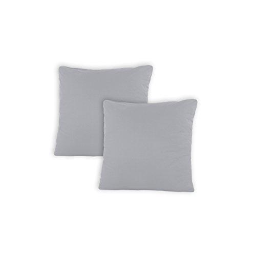 SHC - Juego de 2 fundas de cojín decorativas, 100% algodón, con cremallera, 100 % algodón, Plateado/gris claro., 50 x 50 cm