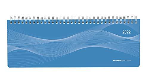 Tisch-Querkalender Profi blau 2022 - Büro-Planer 29,7x10,5 cm - Tisch-Kalender - 1 Woche 2 Seiten - Ringbindung - Alpha Edition