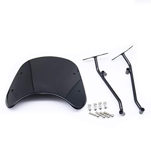 BHYShop Protector del Deflector de Viento ABS de la Motocicleta Carenado del Parabrisas Parabrisas Delantero para Vintage Retro Benelli Leoncino 500 Personalizado (Negro)