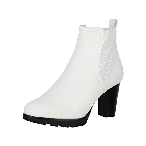Jumex Damen Stiefeletten Ankle Boots Chunkyrayan KL0612 White-39