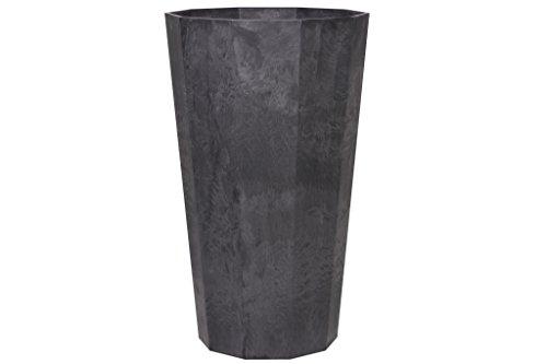 Artstone Pflanzgefäß Pflanzenkübel Deca, frostbeständig und leichtgewichtig, 30 x 70 cm, schwarz