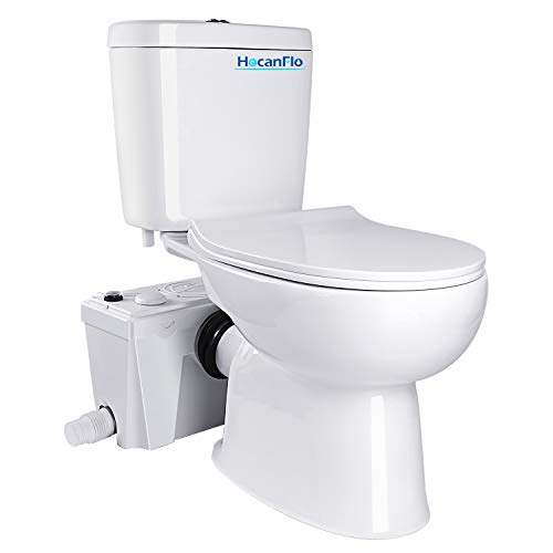 Upflush Macerating Toilet System with 500 Watt Macerator Pump and Extension Pipe Between Toilet and Pump, Silent Seat Cover Elongated Bowl, Nano Glaze Finish