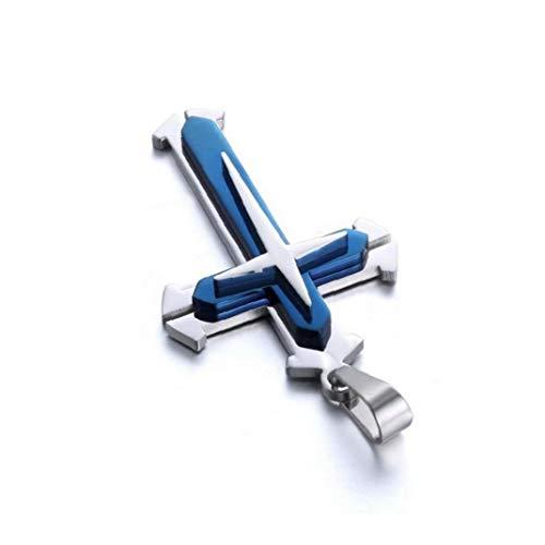 OMMO LEBEINDR Cruz de Acero Inoxidable Unisex Colgante Collar de Moda Collar de Cadena Mujeres y Hombres - Bluefor Conveniencia